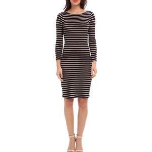 BCBG MAXAZRIA Small Dress Briza Stripe Blue Tan